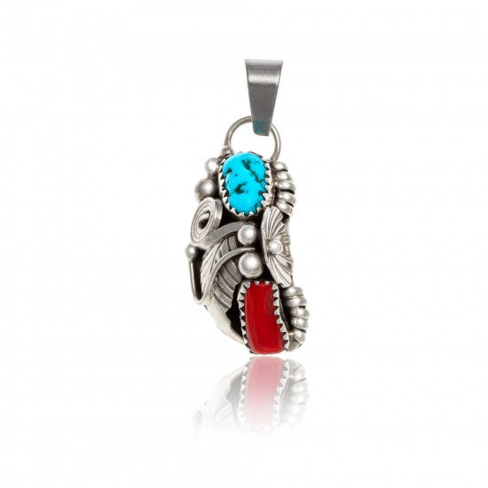 Flower .925 Sterling Silver Certified Authentic Handmade Navajo Native American Natural Turquoise and Coral Pendant 26211-1 Pendants NB160121214221 26211-1 (by LomaSiiva)