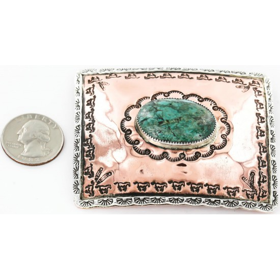 Certified Authentic Navajo .925 Sterling Silver and Copper Natural Turquoise Native American Buckle 45645654 All Products 391008036203 45645654 (by LomaSiiva)