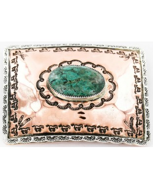 Certified Authentic Navajo .925 Sterling Silver and Copper Natural Turquoise Native American Buckle 45645654