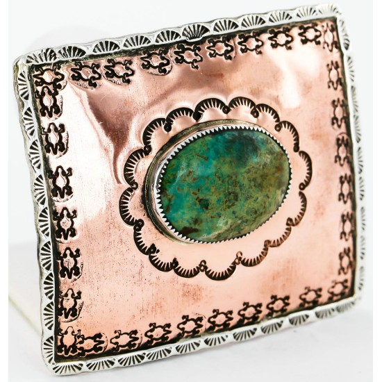 Certified Authentic Navajo .925 Sterling Silver and Copper Natural Turquoise Native American Buckle 86754563 All Products 371219434080 86754563 (by LomaSiiva)