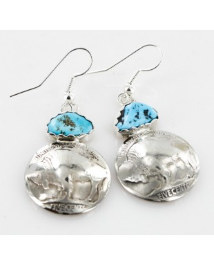 Vintage Style OLD Buffalo Coin Certified Authentic Navajo .925 Sterling Silver Turquoise Native American Earrings 18077-2