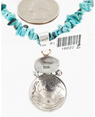 Vintage Style OLD Buffalo Nickel Certified Authentic Navajo .925 Sterling Silver Turquoise Native American Necklace 16022-2