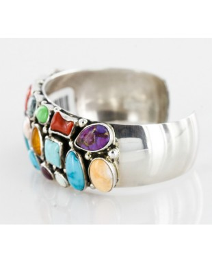 Handmade Certified Authentic Navajo .925 Sterling Silver Multicolor Turquoise, Coral, Lapis Native American Cuff Bracelet 12483