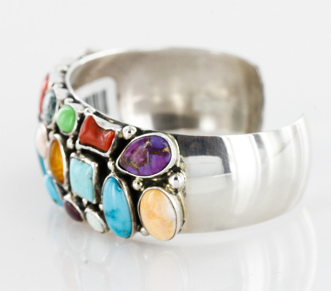 Handmade Certified Authentic Navajo .925 Sterling Silver Multicolor Turquoise, Coral, Lapis Native American Cuff Bracelet 12483 All Products 371175147698 12483 (by LomaSiiva)