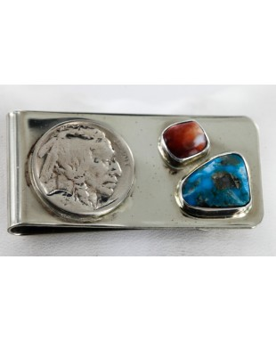 Indian Head Coin Handmade Certified Authentic Ben Taylor Rigg Navajo Nickel Natural Turquoise and Spiny Oyster Native American Money Clip 11242