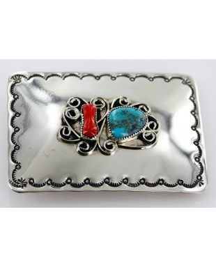 Certified Authentic Navajo Nickel Turquoise Native American Buckle 1192-3