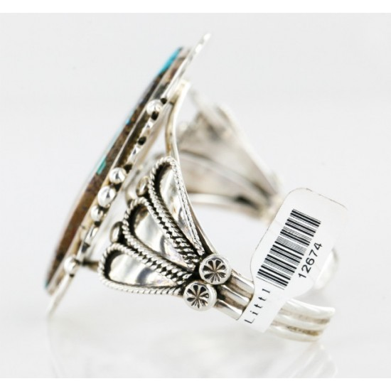 Handmade Certified Authentic Navajo .925 Sterling Silver Turquoise Native American Cuff Bracelet 12674 All Products 371176145946 12674 (by LomaSiiva)