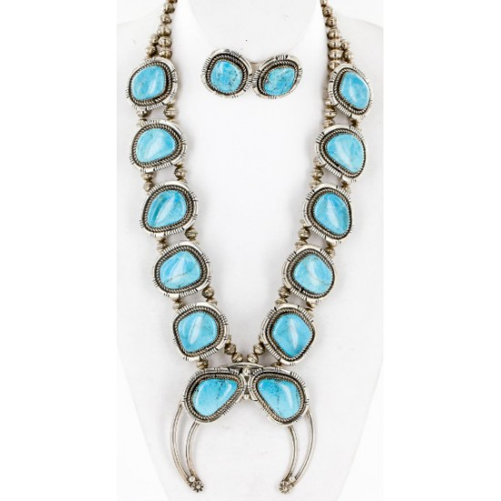Handmade Certified Authentic Navajo .925 Sterling Silver Turquoise Squash Blossom Native American Necklace and Earrings Set Ray Begay 15740-17659 Sets 371180651710 15740-17659 (by LomaSiiva)