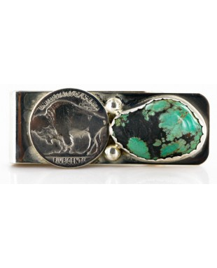 Vintage Style OLD Buffalo Coin Certified Authentic Navajo .925 Sterling Silver and Nickel Natural Turquoise Native American Money Clip 11248