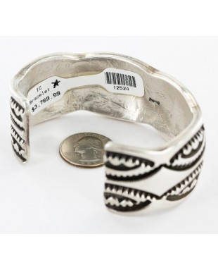 Certified Authentic Signed Marc Antia .925 Sterling Silver Apache Native American Bracelet 12524