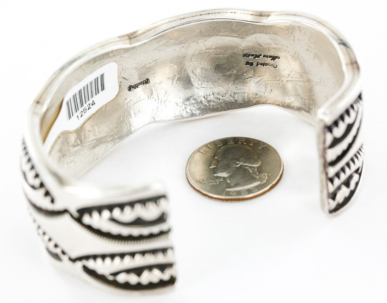 Certified Authentic Signed Mona Antia Apache .925 Sterling Silver Native American Bracelet 12524 All Products 371180678891 12524 (by LomaSiiva)