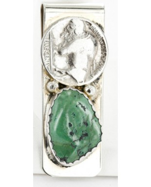 Vintage Style OLD Buffalo Coin Certified Authentic Navajo .925 Sterling Silver and Nickel Natural Turquoise Native American Money Clip 11248-1