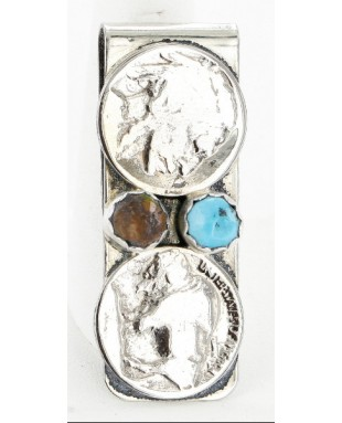 2 Vintage Style OLD Buffalo Coin Certified Authentic Navajo .925 Sterling Silver and Nickel Turquoise Native American Money Clip 11244-1