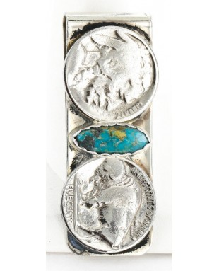 2 Vintage Style OLD Buffalo Coin Handmade Certified Authentic Navajo .925 Sterling Silver and Nickel Natural Turquoise Native American Money Clip 11244-4