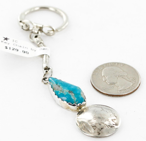 Vintage Style OLD Buffalo Coin Certified Authentic Navajo .925 Sterling Silver Natural Turquoise Native American Keychain 10320-2 All Products 390996203801 10320-2 (by LomaSiiva)