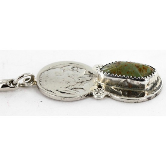 2 Vintage Style OLD Buffalo Coin Certified Authentic Navajo .925 Sterling Silver Natural Turquoise Native American Keychain 10320-1 All Products 390996201170 10320-1 (by LomaSiiva)