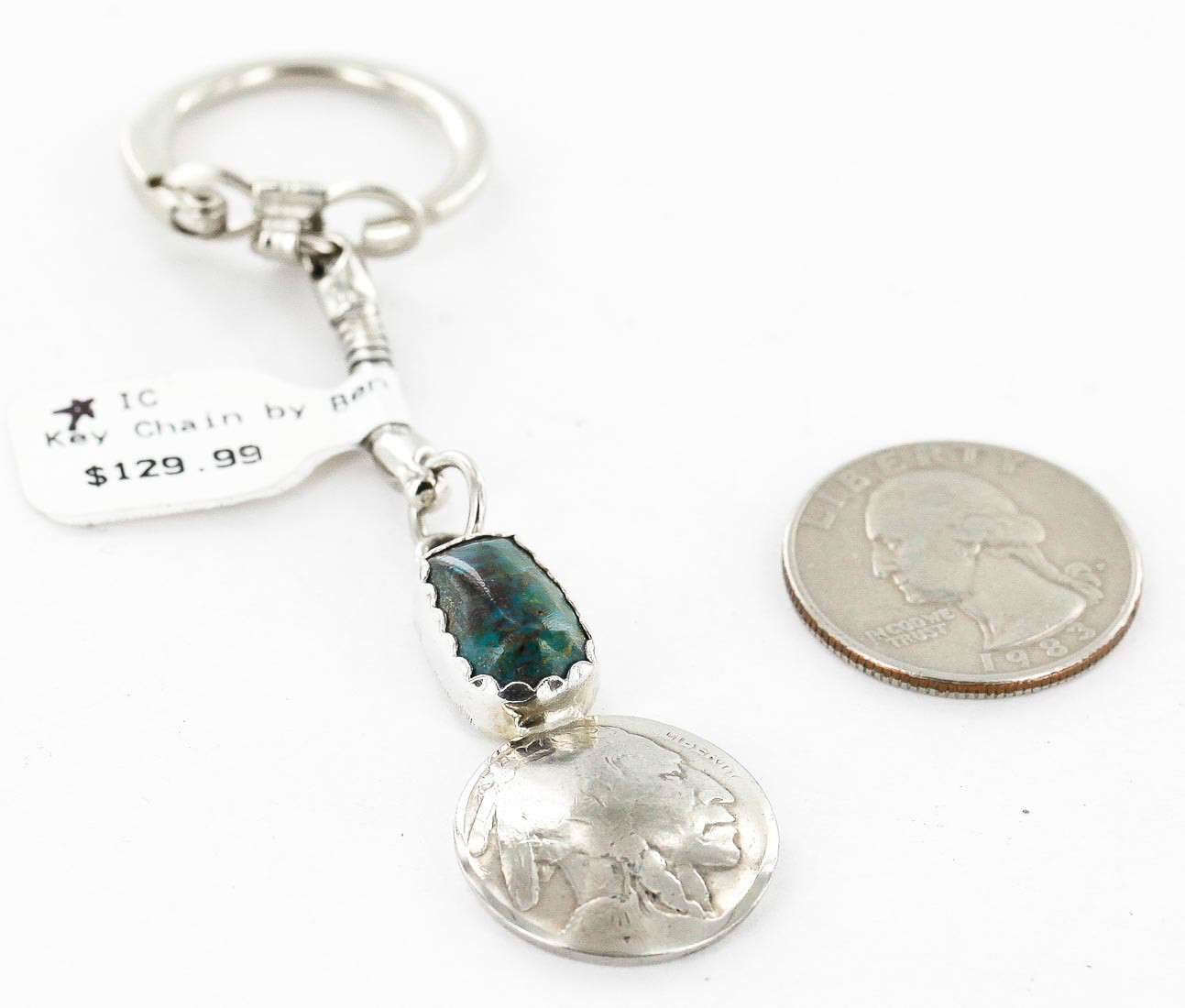 Vintage Style OLD Buffalo Coin Certified Authentic Navajo .925 Sterling Silver Natural Turquoise Native American Keychain 10320-4 All Products 371208513306 10320-4 (by LomaSiiva)
