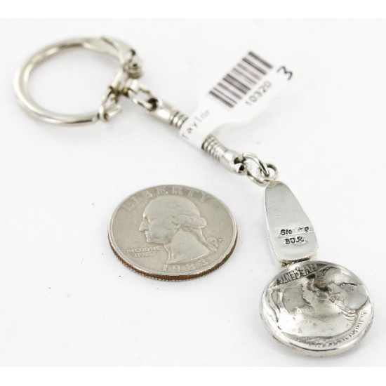Vintage Style OLD Buffalo Coin Certified Authentic Navajo .925 Sterling Silver Spiny Oyster Native American Keychain 10320-3 All Products 390996199647 10320-3 (by LomaSiiva)
