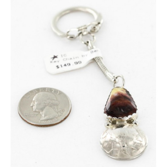 Vintage Style OLD Buffalo Coin Certified Authentic Navajo .925 Sterling Silver Spiny Oyster Native American Keychain 10327-0 All Products 390996200345 10327-0 (by LomaSiiva)