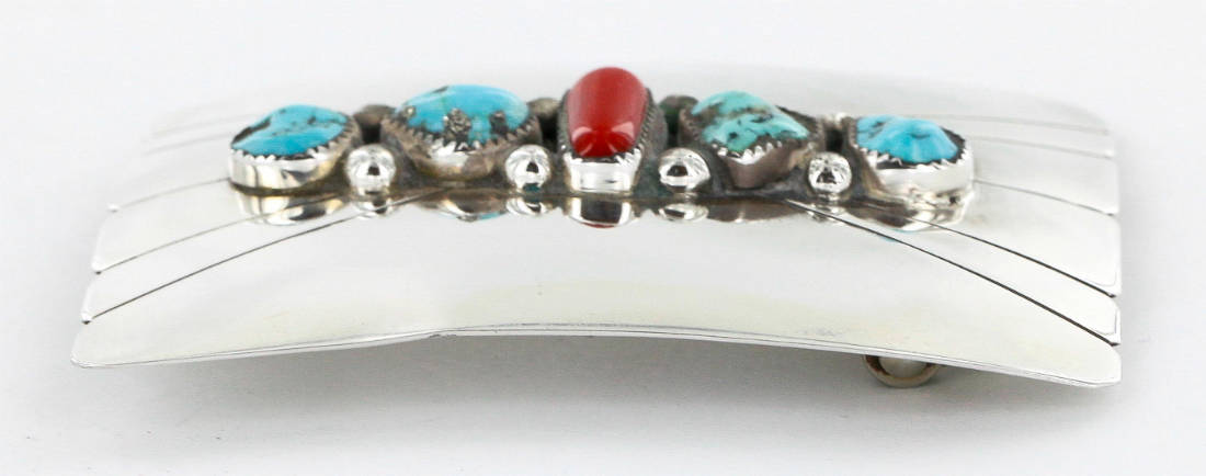 Certified Authentic Navajo .925 Sterling Silver Natural Turquoise and Coral Native American Buckle 1195 All Products 390989979861 1195 (by LomaSiiva)