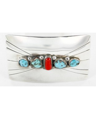 Certified Authentic Navajo .925 Sterling Silver Natural Turquoise and Coral Native American Buckle 1195