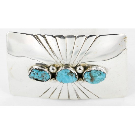 Certified Authentic Navajo .925 Sterling Silver Natural Turquoise Native American Buckle 1194-2 All Products 390989977241 1194-2 (by LomaSiiva)