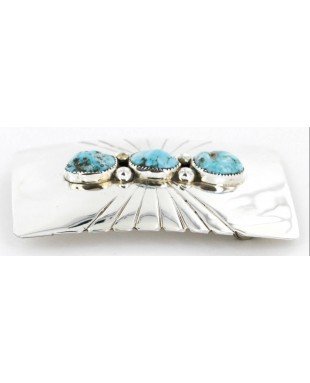 Certified Authentic Navajo .925 Sterling Silver Natural Turquoise Native American Buckle 1194-2