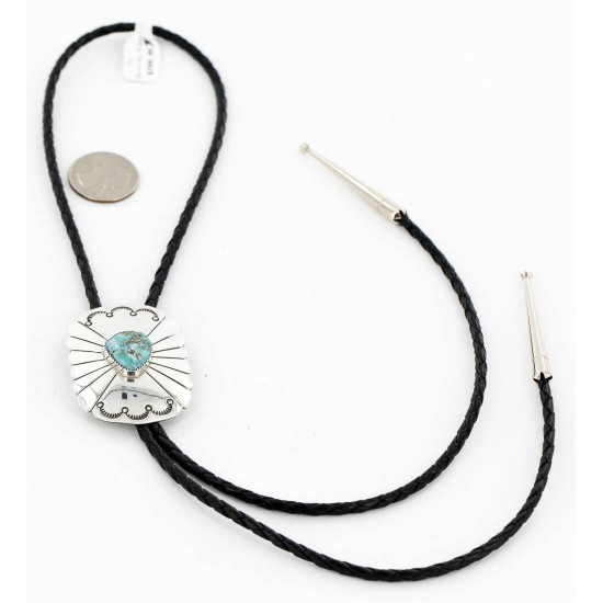 Handmade Certified Authentic Navajo .925 Sterling Silver Natural Turquoise Native American Bolo Tie  1190-2 All Products 371202313438 1190-2 (by LomaSiiva)