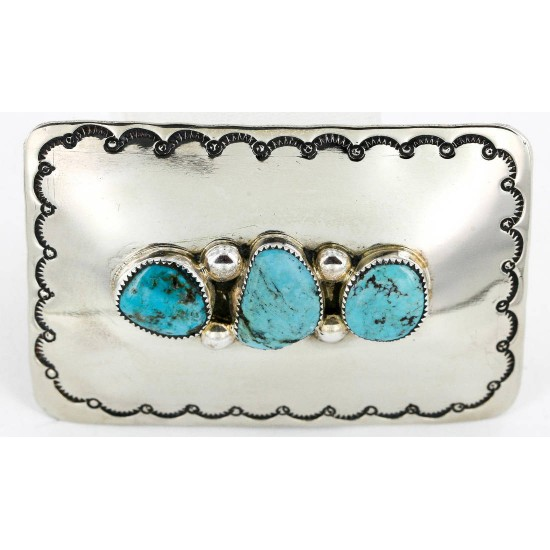 Certified Authentic Navajo Nickel Turquoise Native American Buckle 1193 All Products 371217486046 1193 (by LomaSiiva)