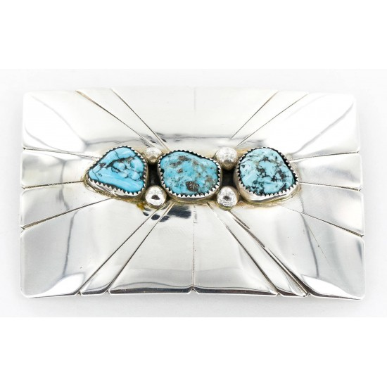 Certified Authentic Navajo .925 Sterling Silver Natural Turquoise Native American Buckle 1194-1 All Products 1194-1 1194-1 (by LomaSiiva)