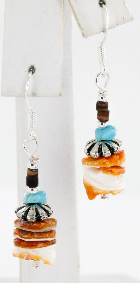 Certified Authentic Navajo .925 Sterling Silver Natural Turquoise Spiny Oyster Set Native American Necklace and Earrings 16038-18084 Sets 391005803622 16038-18084 (by LomaSiiva)