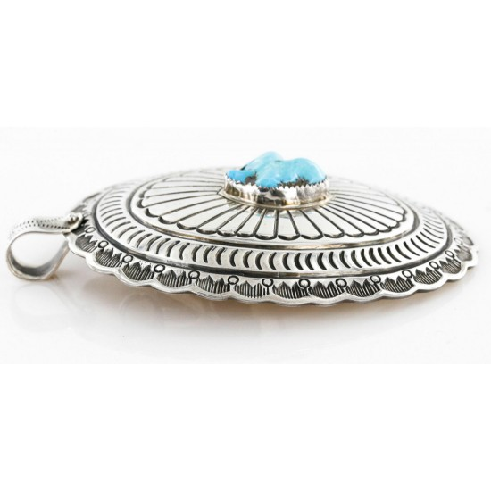 Large Collectable Handmade Certified Authentic Navajo .925 Sterling Silver Natural Turquoise Native American Bolo tie and Pendant  24112 Pendants 390996205768 24112 (by LomaSiiva)