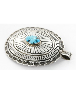 Large Collectable Handmade Certified Authentic Navajo .925 Sterling Silver Natural Turquoise Native American Bolo tie and Pendant  24112