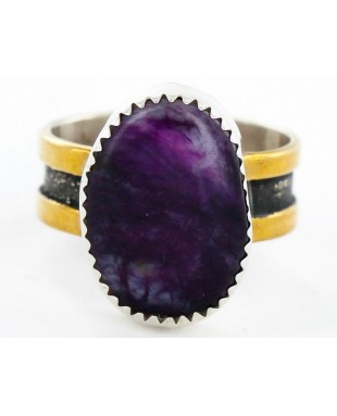 12kt Gold Filled and .925 Sterling Silver Handmade Certified Authentic Navajo Purple Spiny Oyster Native American Ring  12687-1