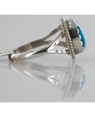 Handmade Certified Authentic Navajo .925 Sterling Silver Natural Turquoise Rin Native American Ring  16843