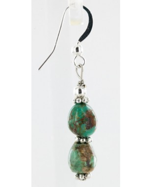 Certified Authentic Navajo .925 Sterling Silver Hooks Natural Turquoise Native American Earrings 18066