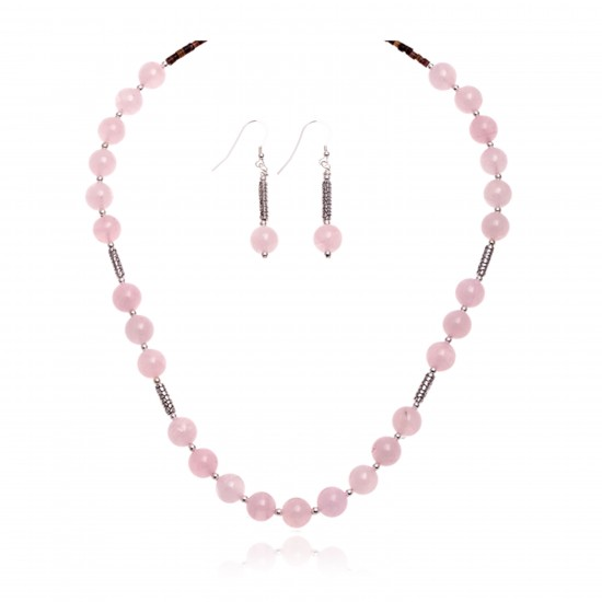 .925 Sterling Silver Certified Authentic Navajo Native American Natural Pink Quartz Set 18235-1-18237-1 Sets NB160407000037 18235-1-18237-1 (by LomaSiiva)