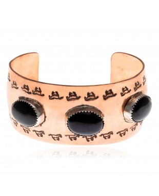 Horse Natural Black Onyx Pure Copper Certified Authentic Navajo Native American Handmade Cuff Bracelet 13157