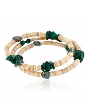 Adjustable Wrap Native American Bracelet $200 Handmade Certified Authentic Navajo Heishi Malachite Turquoise 370998824205