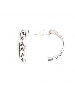 Arrow .925 Sterling Silver Certified Authentic Handmade Navajo Native American Earrings 13185-2