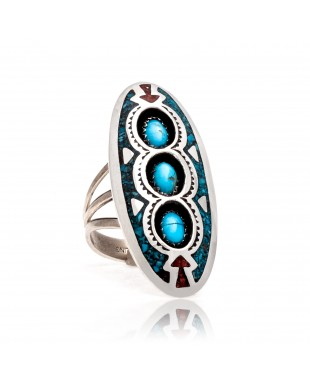 Arrow Shadow Box Natural Turquoise Chipped inlay Turquoise and Coral .925 Sterling Silver Certified Authentic Navajo Native American Handmade Ring 13204-6