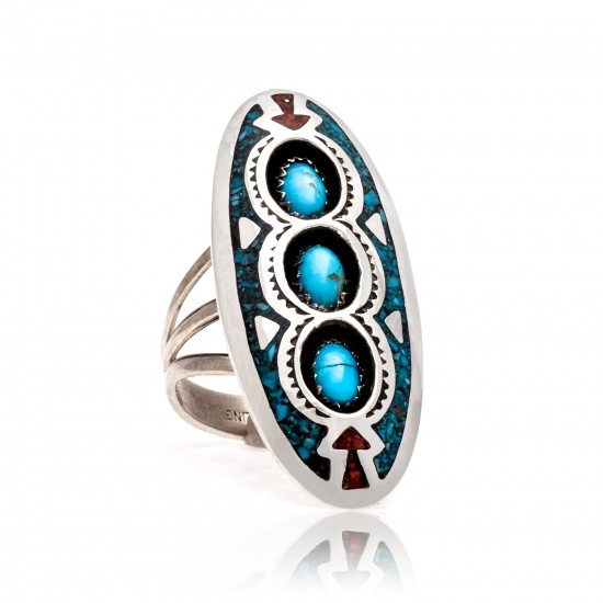 Arrow Shadow Box Natural Turquoise Chipped inlay Turquoise and Coral .925 Sterling Silver Certified Authentic Navajo Native American Handmade Ring 13204-6 All Products NB181009165427 13204-6 (by LomaSiiva)