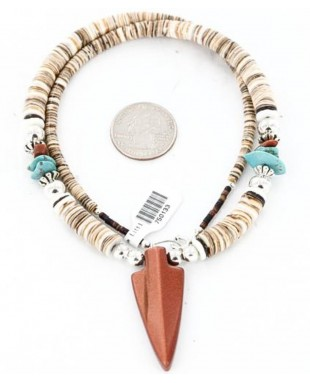 Certified Authentic Navajo .925 Sterling Silver Graduated Melon Shell and Goldstone Native American Arrowhead Necklace 371049299723