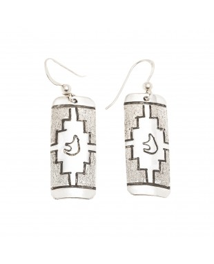 Bear .925 Sterling Silver Certified Authentic Handmade Navajo Native American Earrings 18312-2