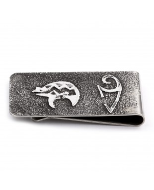 Bear .925 Sterling Silver Certified Authentic Handmade Navajo Native American Money Clip 13194-5