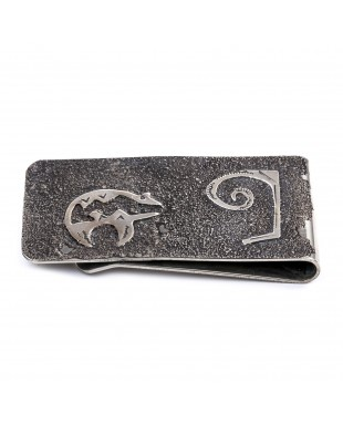 Bear .925 Sterling Silver Ray Begay Certified Authentic Handmade Navajo Native American Money Clip  13194-4