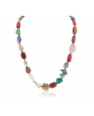 Bear Certified Authentic .925 Sterling Silver Navajo Natural Turquoise Multicolor Stones Native American Necklace 750195-2