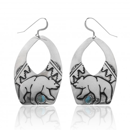Bear Cloud Sun Natural Turquoise .925 Sterling Silver Certified Authentic Navajo Native American Handmade Dangle Earrings 27215 All Products NB181212224249 27215 (by LomaSiiva)
