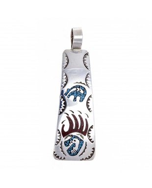 Bear Paw .925 Starling Silver Certified Authentic Handmade Navajo Native American Natural Turquoise Coral Pendent  24541