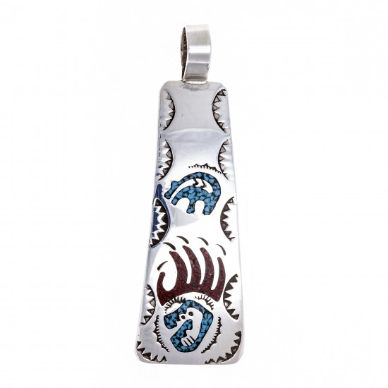 Bear Paw .925 Starling Silver Certified Authentic Handmade Navajo Native American Natural Turquoise Coral Pendent  24541 Pendants NB180602181535 24541 (by LomaSiiva)